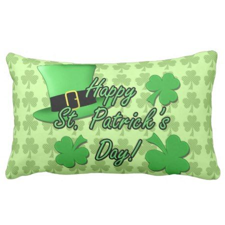 Cool Green top hat Shamrocks Patricks Day PLdesign Lumbar Pillow - click/tap to personalize and buy