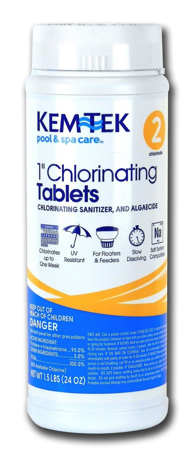 Kem-Tek 2815-6 Chlorinating Tablets 1-Inch Pool and Spa Chemicals 1.5-Pound