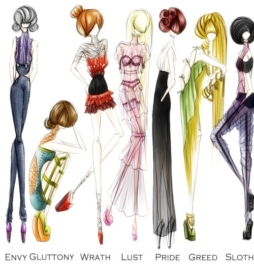 Seven Deadly Sins fashion illustrations #sevendeadliesbook