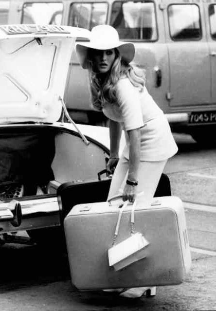 Ursula Andress arriving at Heathrow Airport, 1969