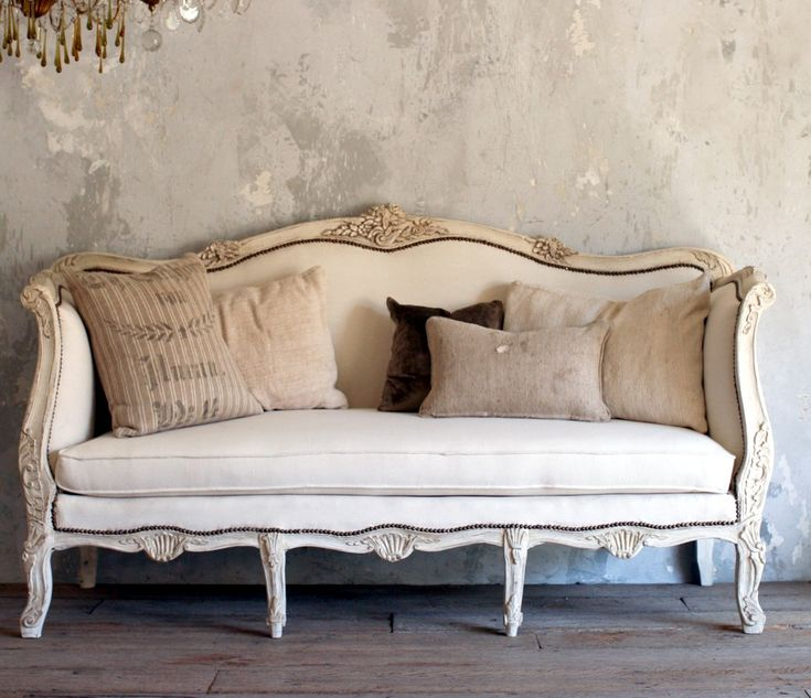 Vintage Shabby French Style Louis XV Daybed Sofa Cream Upholstered Antique,rose,  Cream