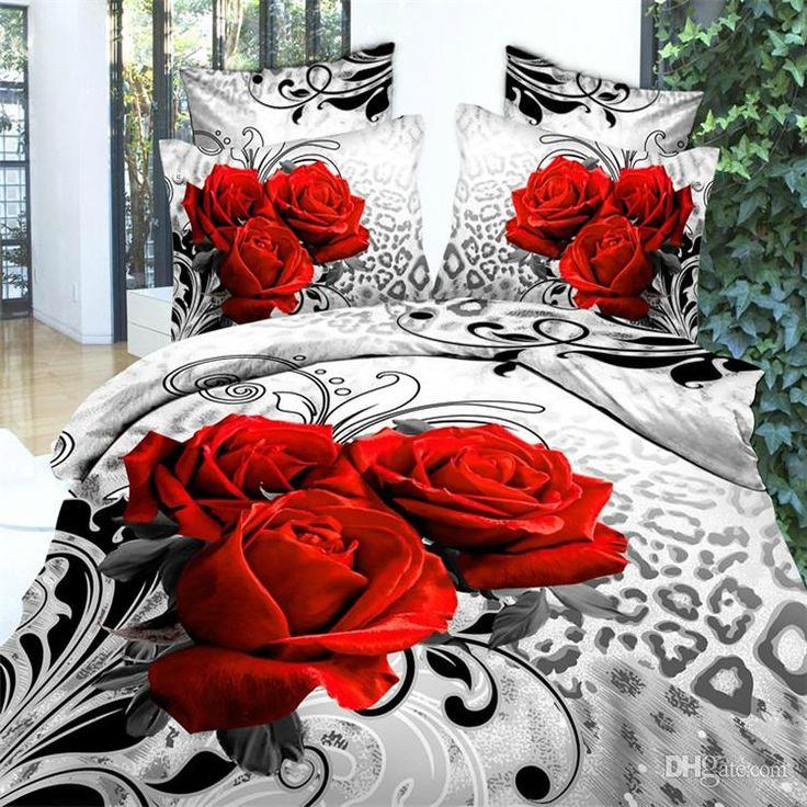 Wholesale Luxury 3d oil painting red flower bedding set queen king size 100%Cotton 4pcs comforter/duvet covers bed sheet bedclothes set ho, $52.36/Set | DHgate Mobile