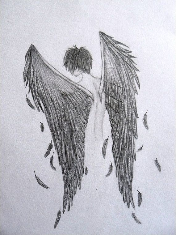 Items similar to raven boy black angel original pencil drawing ooak by anna liisa on etsy