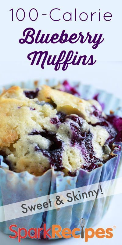 100 Calorie Blueberry Muffins Recipe. Who doesn't love a 100-calorie muffin? Try this one with a variety of fruit. | via @SparkRecipes