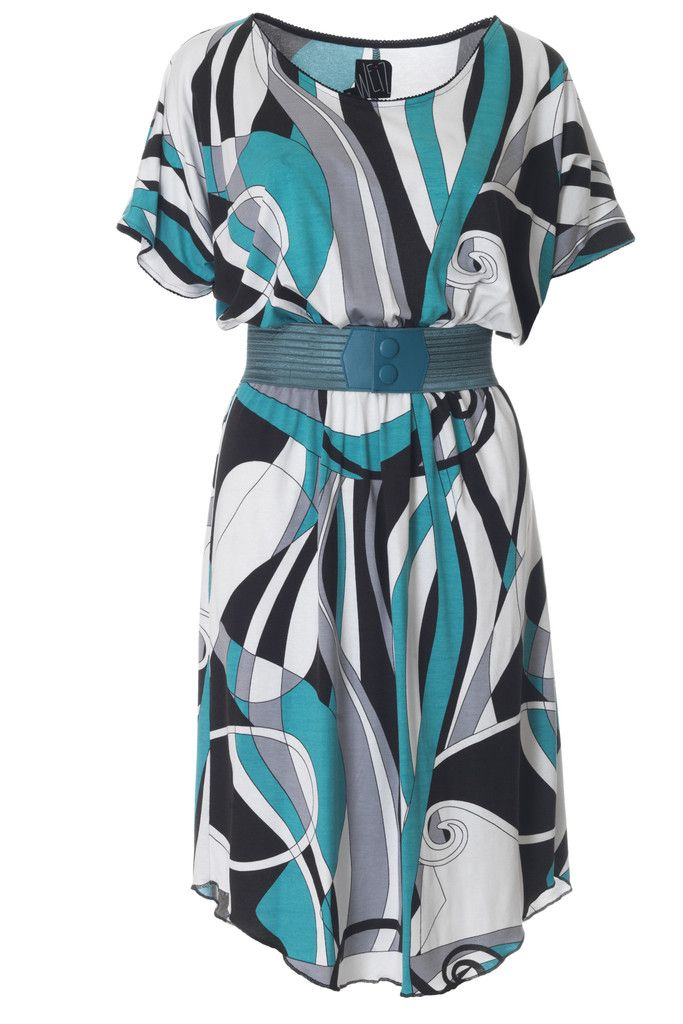 The Wigga dress is one of our best-sellers, this turquoise art-Deco inspired version is to die for. Dress it up with a petrol Waist belt!