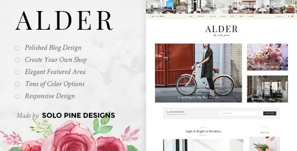 Clean, bright, and classy, Alder is an airy WordPress blog & shop theme designed to stage your content in structured elegance. #clean #elegant #food #blog #design