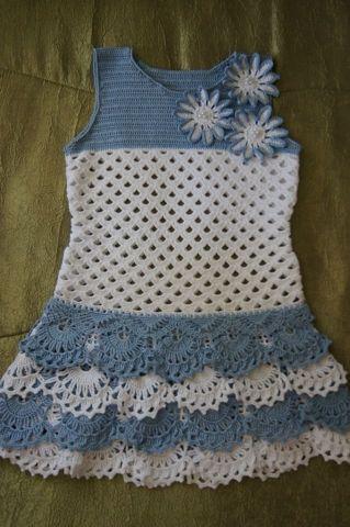 Crochet Knitting Handicraft: Girl dress