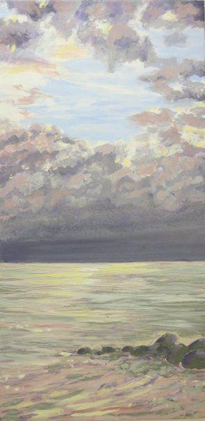 Painting - Morning by the sea Ballehage Denmark - artist Lars Stounberg 2015