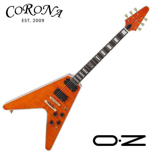 Corona COV-2000 Psy Band OZ Signature V Shape Flame Maple Orange White Guitar #Corona