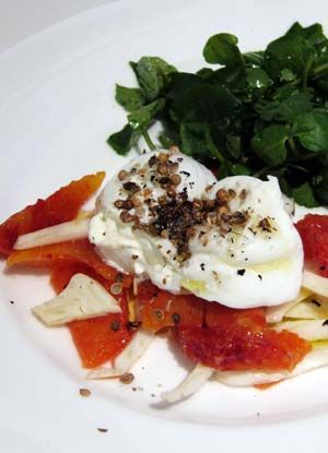 this dish was inspired by a menu item at nopi – burrata, blood orange and coriander. ...