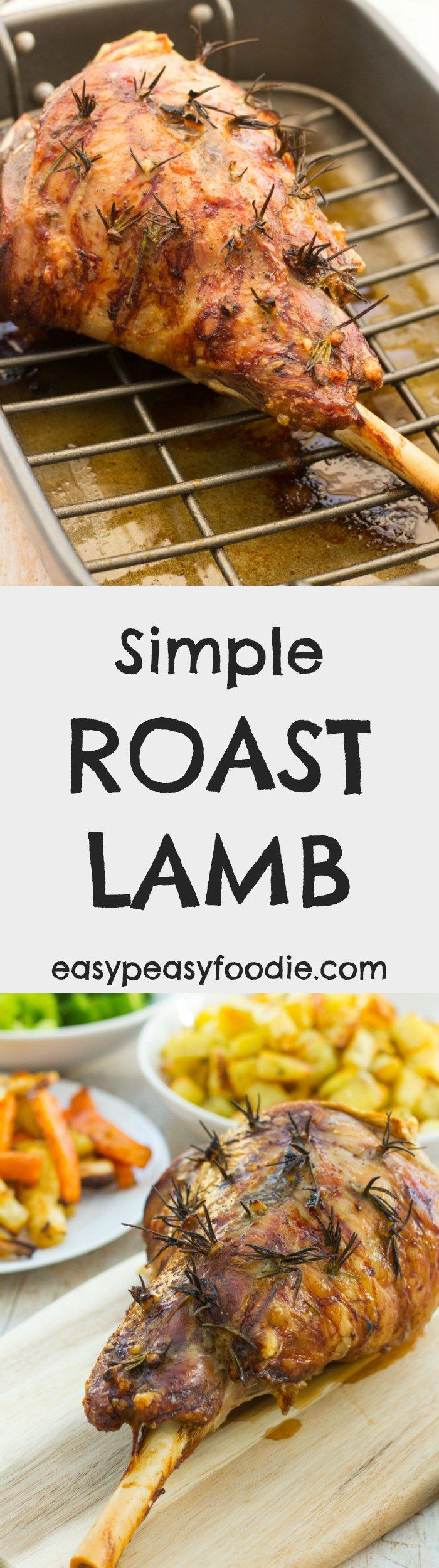 A roast dinner classic! This Simple Roast Lamb and Gravy is quick to prepare and quick to cook, but using plenty of rosemary and garlic ensures it's packed full of flavour! Perfect for your Sunday lunch or Easter celebrations this year. #lamb #roastlamb #legoflamb #roastdinner #britishfood #sundayroast #rosemary #garlic #easter #easterlamb