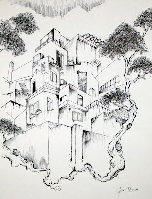 """""""Houses with garden""""  Ink on paper (Javier Pavón, 2008)"""