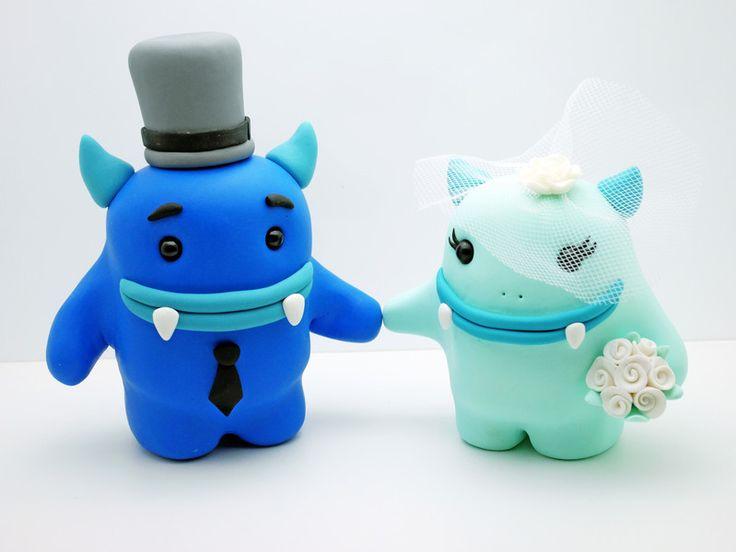 Hochzeitsdeko - Hochzeitstortenfiguren Brautpaar Figuren Monster - ein ...