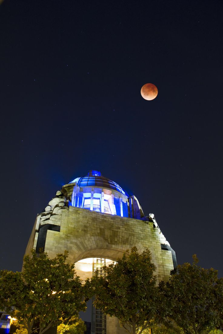 Mexico: Monumento de la Revolucion, Mexico City + red moon