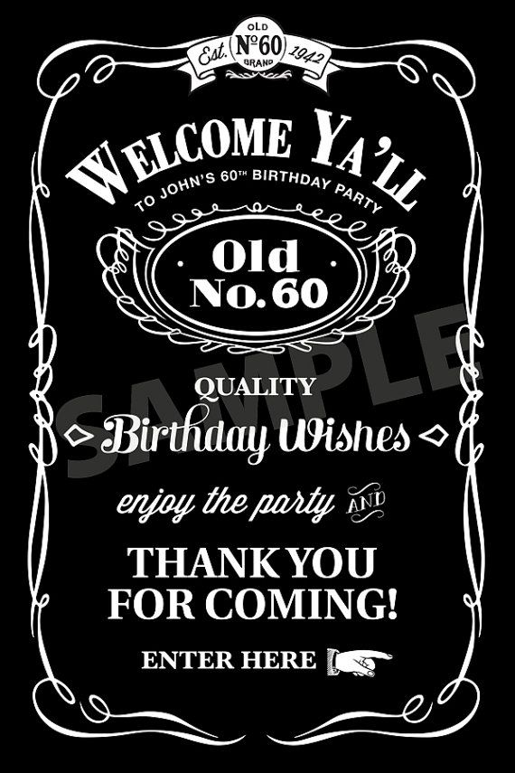 Jack Daniels Inspired Poster - Personalized, Printable - 20x30, Southern Style, Birthday Poster via Etsy