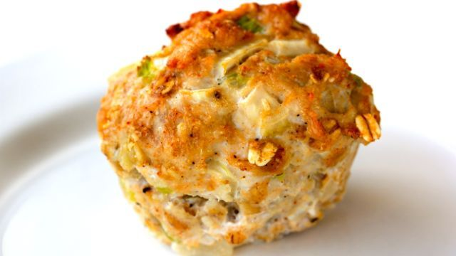 Nutrients per muffin: Calories: 80; Total Fat: 2g; 4 Carbohydrate: 4g; Protein: 11g.