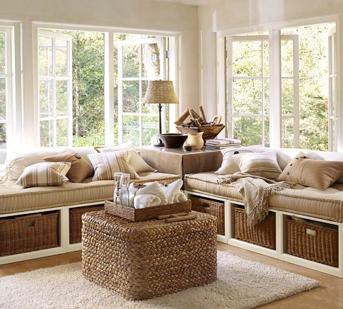 Stratton Daybed with Baskets   Pottery Barn Looks like Built ins but is really two daybeds under the windows!