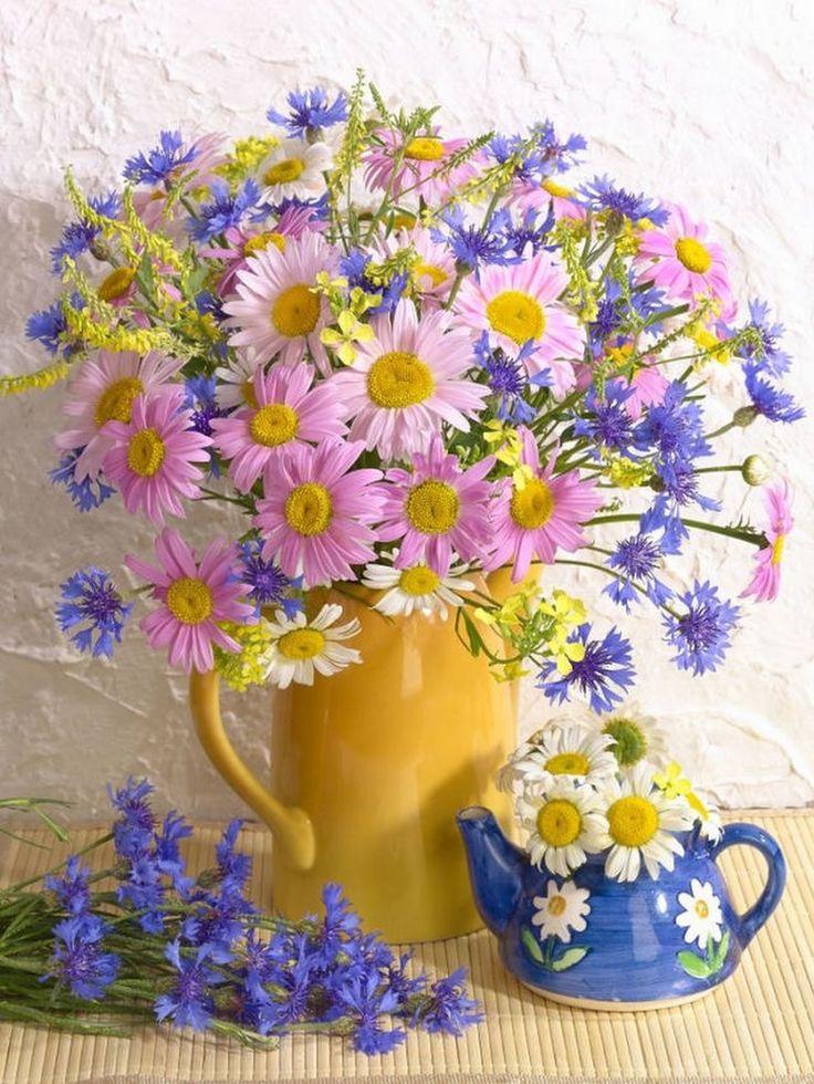 Картинка поздравление, открытки с букетом полевых цветов и надписью с добрым утром
