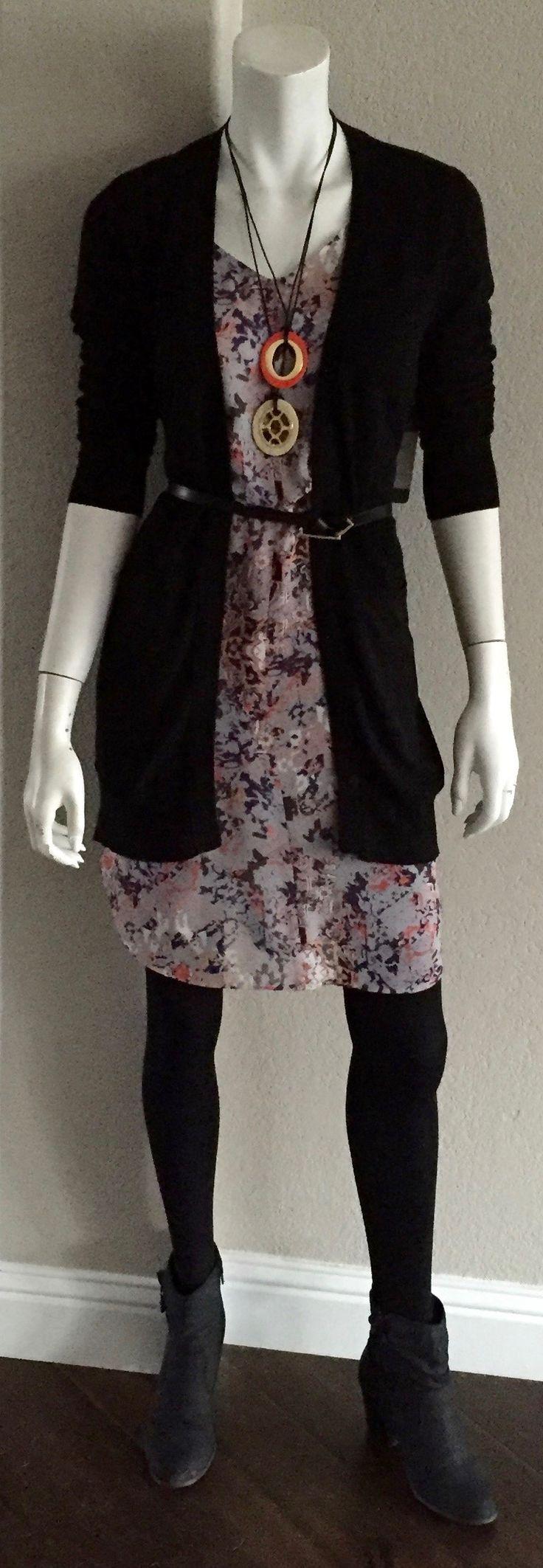 cabi spring '16 Sorrento Cardigan, Fresco Dress & Helio Necklaces w black tights & a skinny belt.  #fallintospring