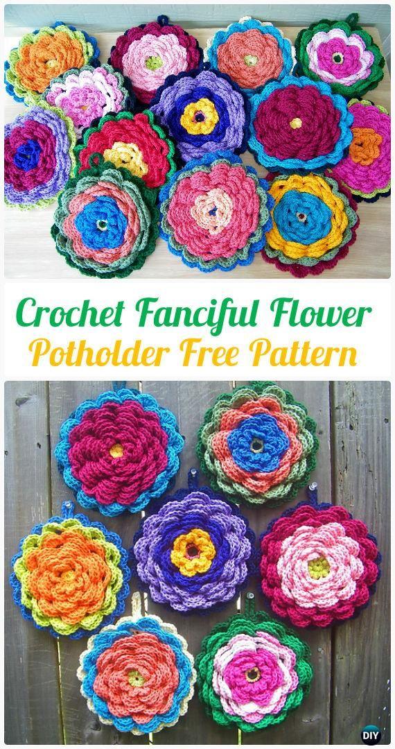 Crochet Fanciful Flower Potholder Free Pattern - #Crochet Pot Holder Hotpad Free Patterns