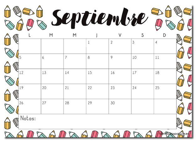 Calendario descargable septiembre 2016 #printable #descargable #vueltalcole #imprimible
