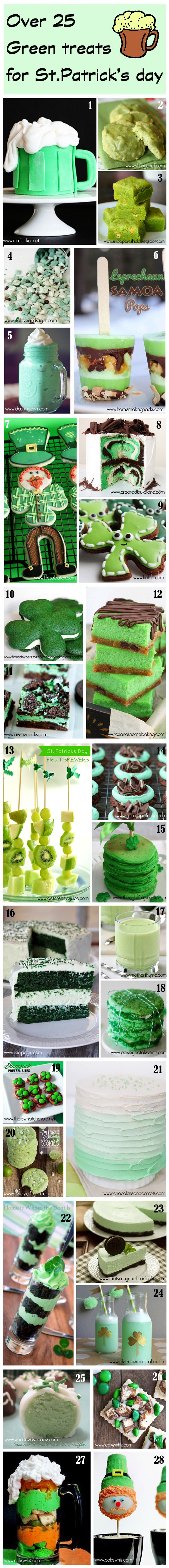 Over 25 GREEN treats to celebrate St.Patrick's Day. This roundup has everything from cakes to cupcakes to cookies and even some healthy treats! From cakewhiz.com