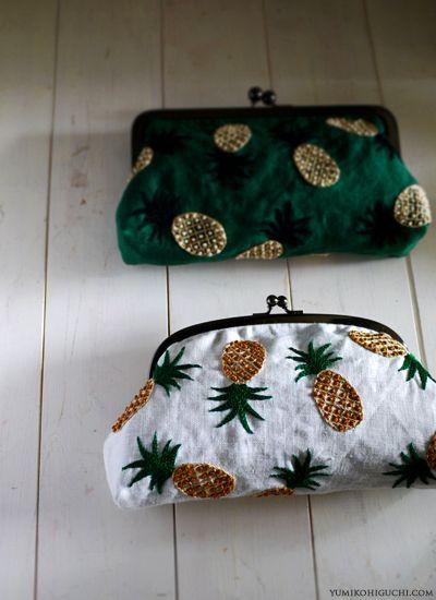 pineapple pouches by yumiko higuchi