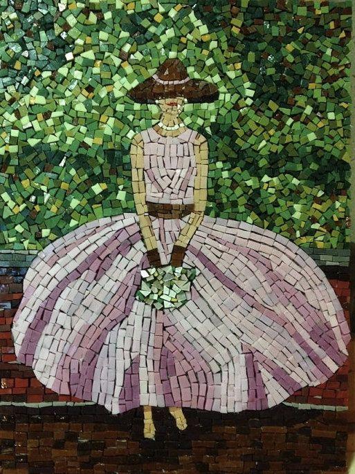 Glass Mosaic Art Lady in Pink Dress and Hat // Whimsical Wall Decor // Nursery Art // Fashion Art