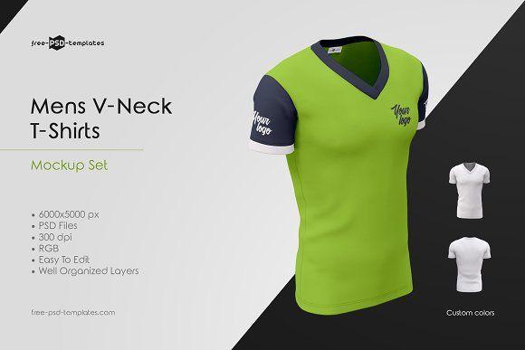 Download Mens V Neck T Shirts Mockup Set