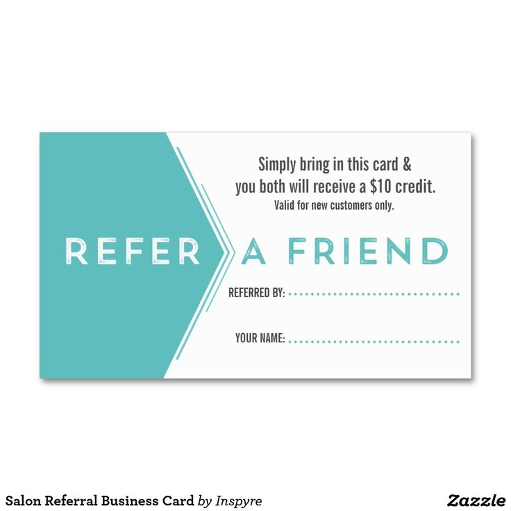 Salon Referral Business Card Zazzle Com Customer