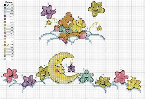 Hermosos diseños en Punto en Cruz - Luna y Estrellas