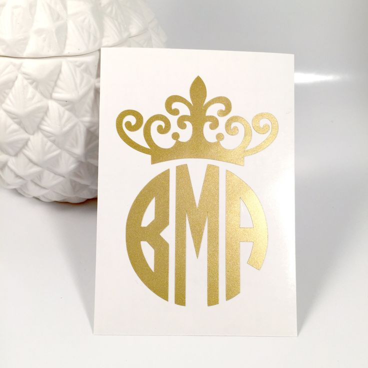 Personalized Crown Monogram Decal/Sticker, Car Decal, Laptop Decal, Monogram Decal, iPhone Decal, iPad Decal by TurqPineapple on Etsy