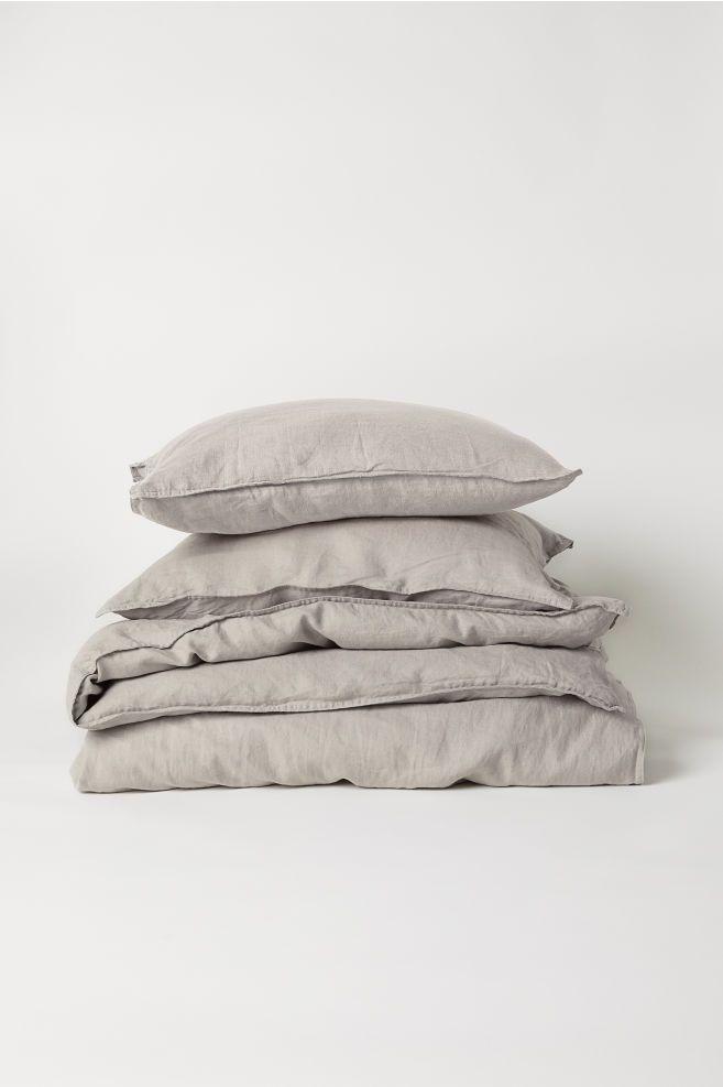 Washed Linen Duvet Cover Set Light Taupe Home All H M Us Washed Linen Duvet Cover Linen Duvet Covers Duvet Cover Sets