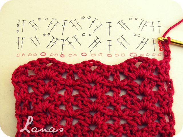 Lanas de Ana: RED SCARF (Graphic Pattern)