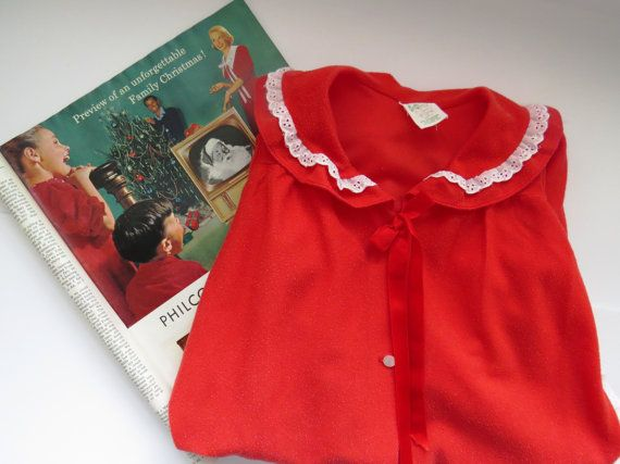 Vintage Toddler Girls Red Bathrobe by IC Mfg  Size 3T  1950s