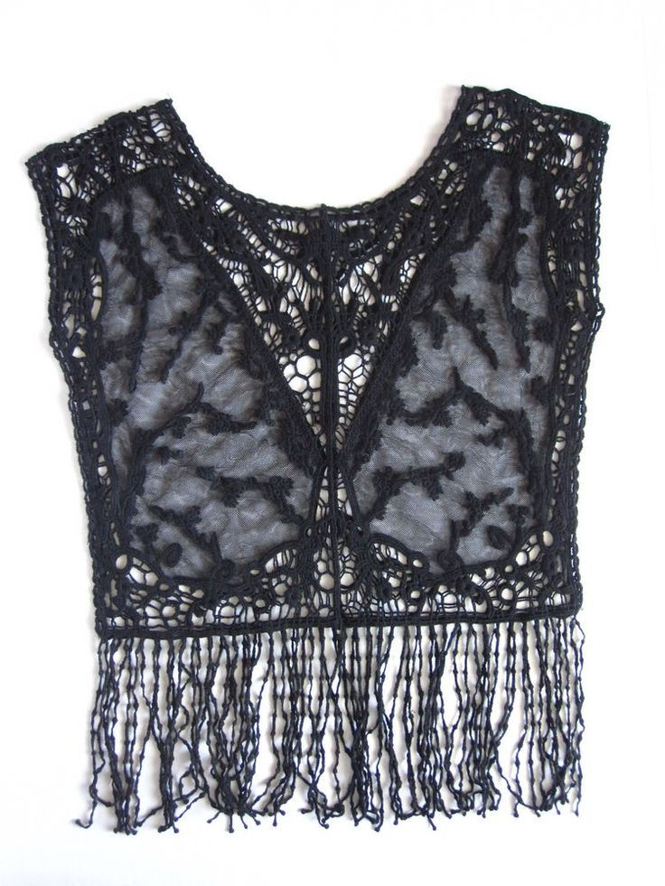 Anthropologie Lace Top Crochet Fringe Boho Black New Vintage Small S Festival #Anthropologie #KnitTop: