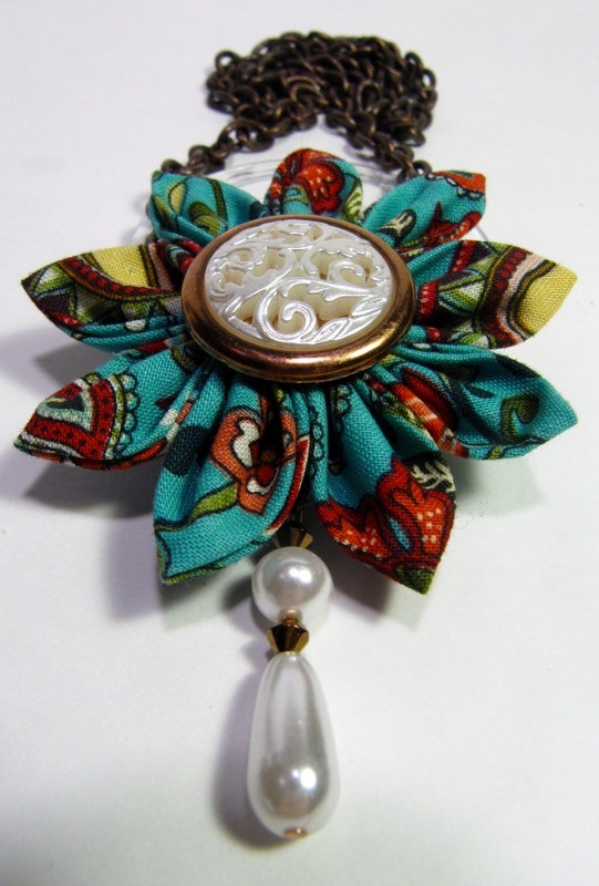 Bold Fabric Flower Necklace in turquoise with by HeavyPetals