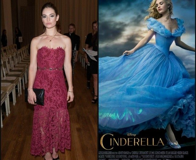 The actress who plays Cinderella, in real life vs on the Disney poster