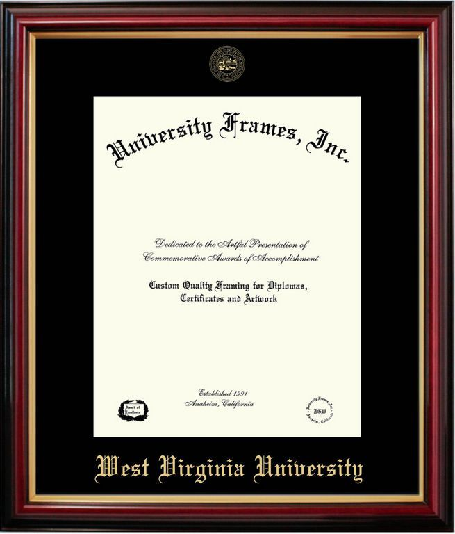 Display your hard earned West Virginia University diploma in our Petite Mahogany Frame. A  gold WVU school seal is embossed at top and West Virginia University is embossed at the bottom of the custom-made acid-free mat board.  Sustainable harvested hardwood molding frame.  For more options\/custom designs, visit...  University Frames
