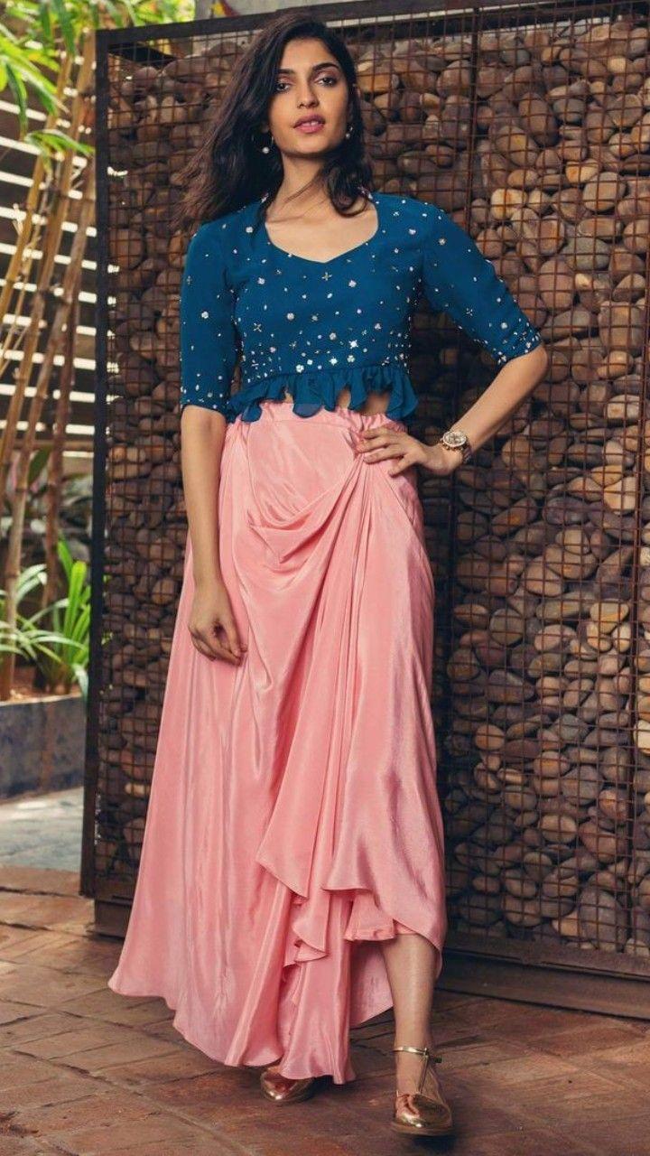 34fa1f54e37 Beautiful Satin Draped skirt with blouse.