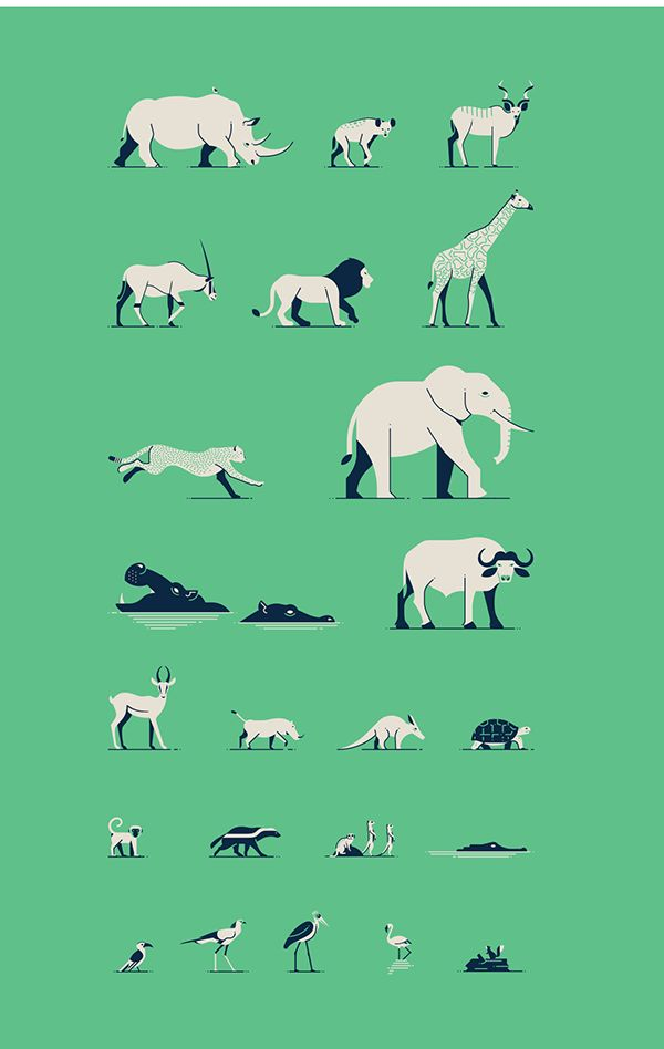 African Postcards Illustration by Makers Company – www.themakers.company.  #illustration #iconic #minimal #wildlife #africa #animal #verctor #graphic
