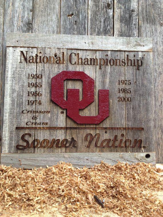 "OKlahoma University Football National Championships 12"" x 17"" approx. Item #638 on Etsy, $50.00"
