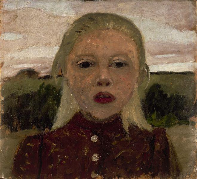 Paula Modersohn-Becker,  Blond pige, landskab i baggrunden , 1901. Courtsey: Privat eie / Louisiana