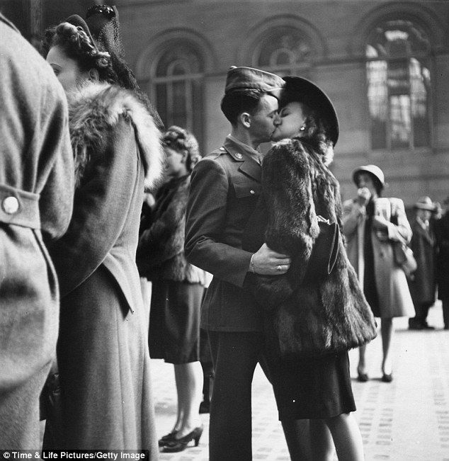 This picture was taken in 1943 at Penn Station. I can't help but wonder how it turned out. Did he make it back? If he did, did they stay together?