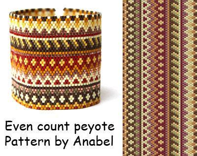 Even count peyote stitch pattern #143 Wide peyote bracelet pattern Seed bead pattern Beadwork Beaded cuff bracelet pattern Handmade