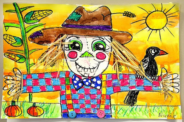 Fall art - see original post: black crayon to draw, oil pastels for shirt, corn, crow, eyes, nose, and grass. Painted sky with watercolors.