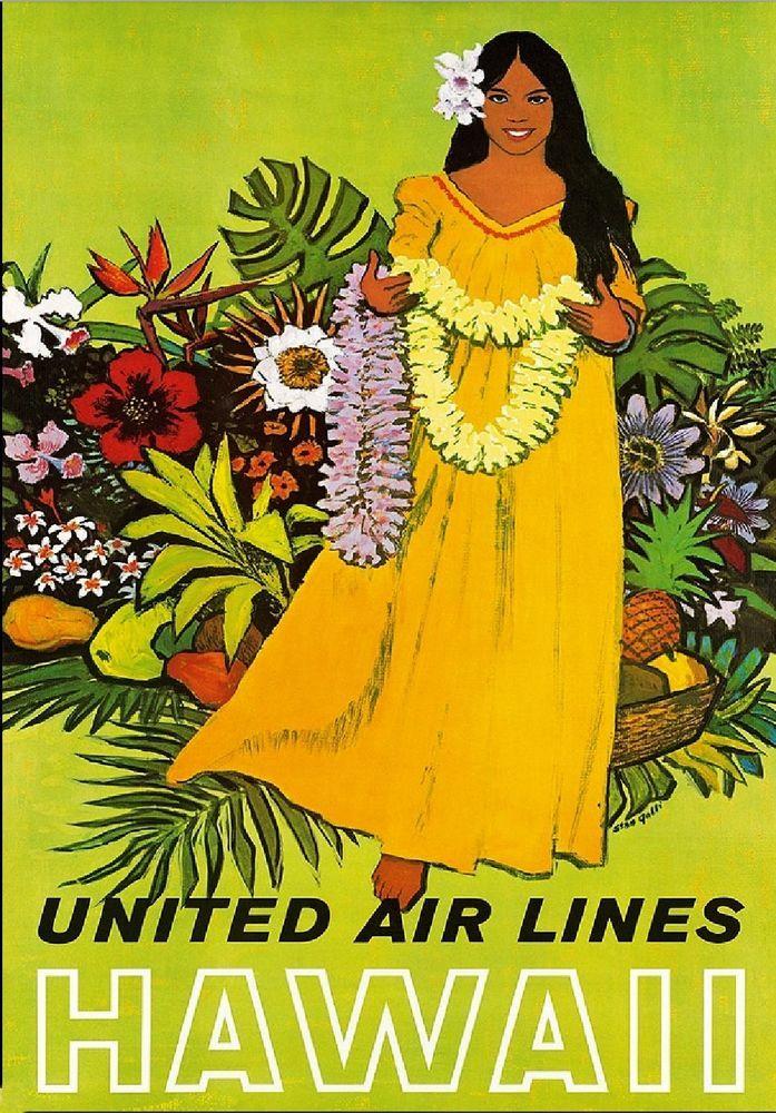 Hawaii Hawaiian Girl United States America Vintage Travel Advertisement Poster | eBay