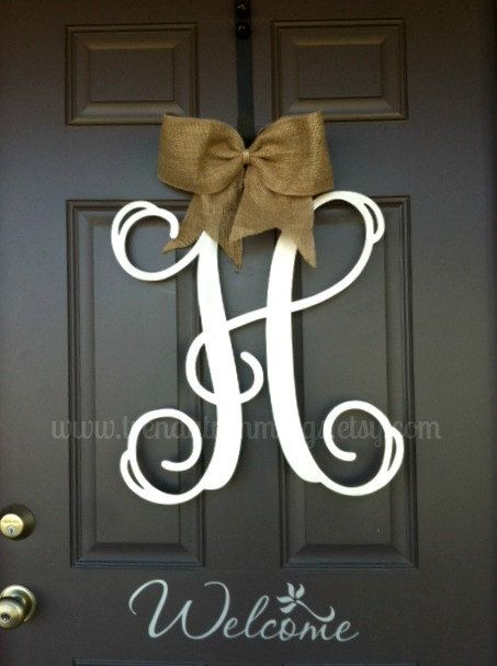 "20 Wooden Monogram Letter by TrendyTrimmings.  Love the ""welcome"" written on the door!"