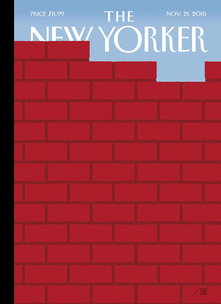 Bob Staake illustrates a brick wall for The New Yorker's election reaction issue.