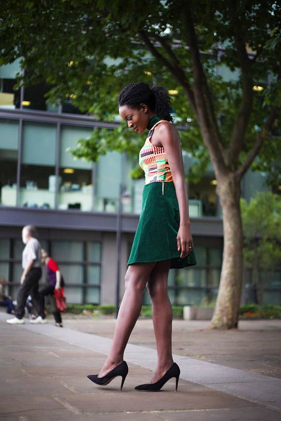 African Print mini dress Green velvet dress Pauline Dress